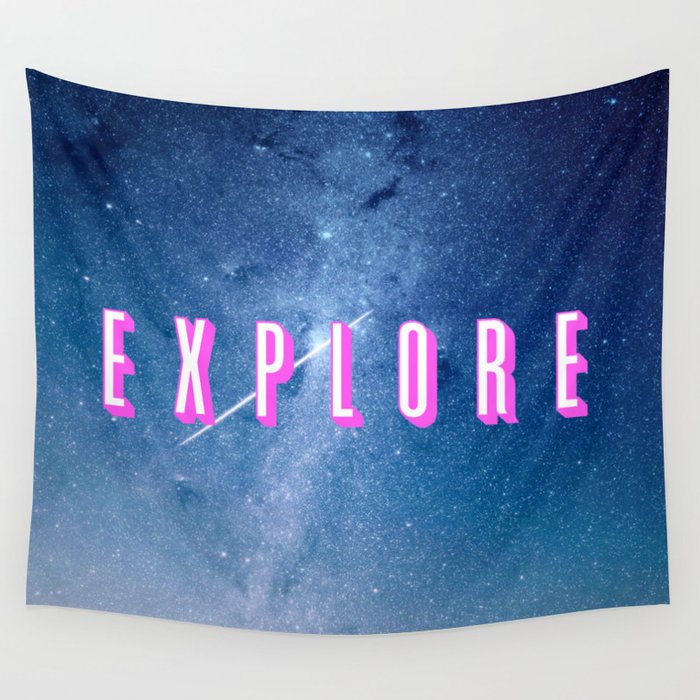 Explore - Space Typography Wall Tapestry