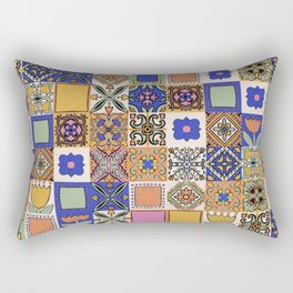 Hand Drawn Floral Patchwork Rectangular Pillow