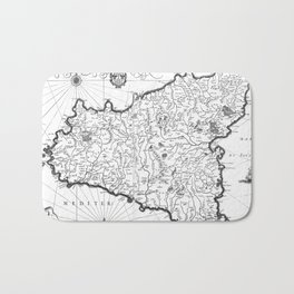 Vintage Map of Sicily Italy (1600s) BW Bath Mat
