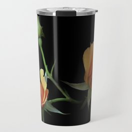 flowers on black - 3 orange rosebuds Travel Mug