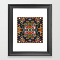 Red & Blue Boho Fantasy Pattern Framed Art Print