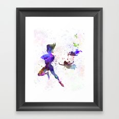 Peter Pan in watercolor Framed Art Print