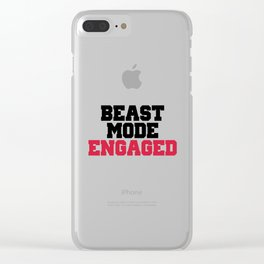 Beast Mode Engaged Gym Quote Clear iPhone Case