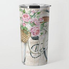 White bike & roses Travel Mug