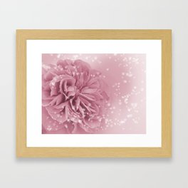 Light Pink Rose with hearts #1 #floral #art #society6 Framed Art Print