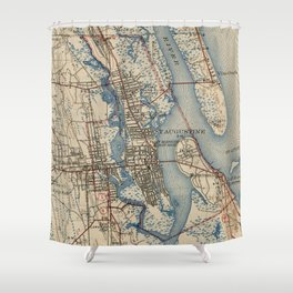 Vintage Map of St. Augustine Florida (1937) Shower Curtain