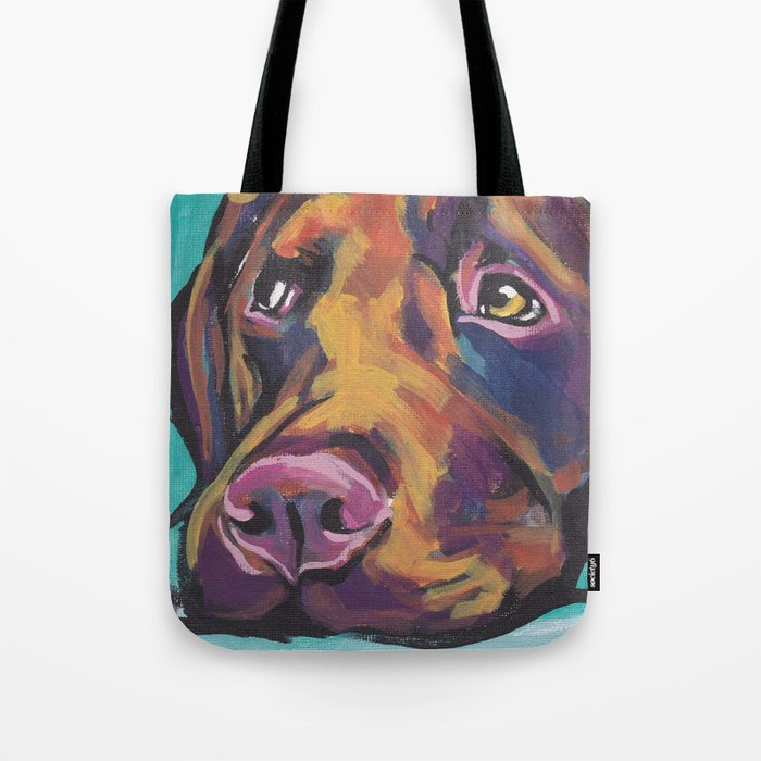 d8509e0c Fun Chocolate Lab Dog bright colorful Pop Art Labrador Tote Bag by wilddogs  | Society6