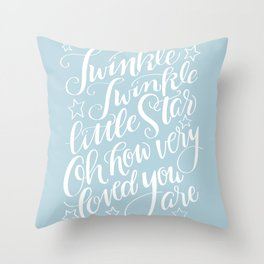Twinkle Twinkle Little Star Blue Throw Pillow