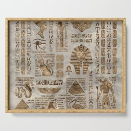 Egyptian hieroglyphs and deities -Vintage Gold Serving Tray