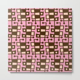 Mid Century Modern Abstract 213 Pink and Brown Metal Print