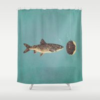 trout Shower Curtains featuring Irresistible Bait  by Terry Fan