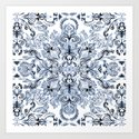 Indigo, Navy Blue and White Calligraphy Doodle Pattern by micklyn