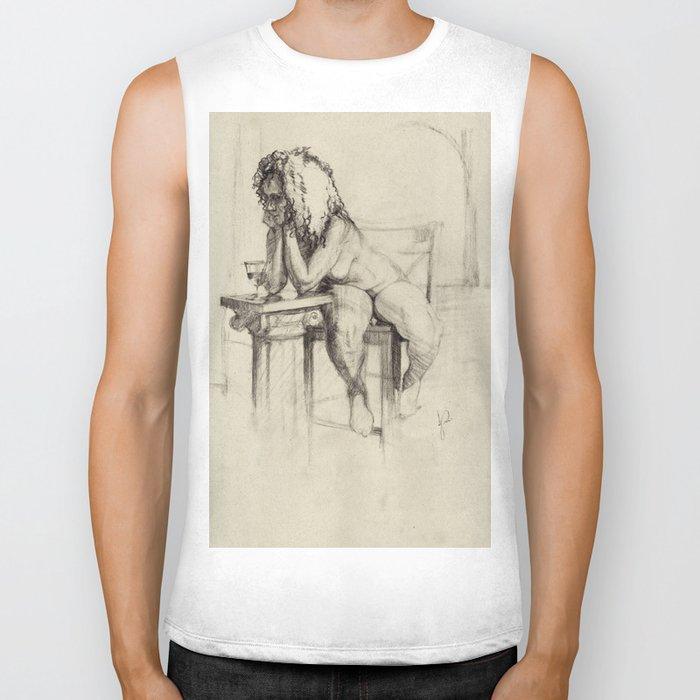 'The Unwinding' Charcoal Drawing Nude woman drinking Wine Biker Tank