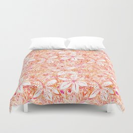 LILY SUNSET Peach Beachy Floral Duvet Cover