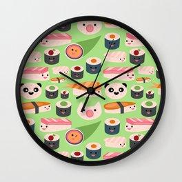 Kawaii sushi green Wall Clock