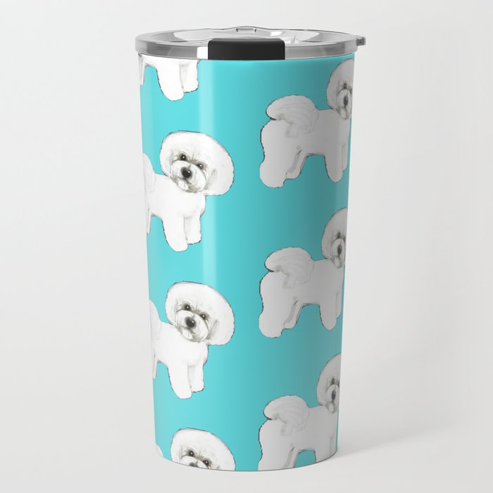 Bichon Frise on aqua / teal / cute dogs/ dog lovers gift Travel Mug