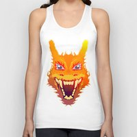 charizard Tank Tops featuring Flaming Dragon by Head Glitch