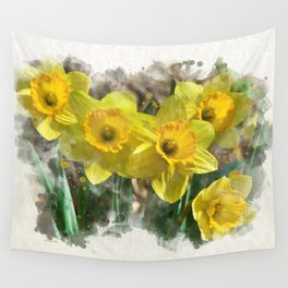 Watercolor Daffodils Wall Tapestry