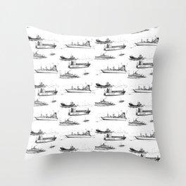 Mediterranean Ships Throw Pillow