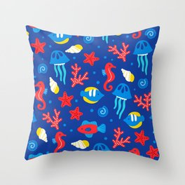 Under the Sea Playful Ocean Pattern Throw Pillow