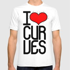 I heart curves SMALL Mens Fitted Tee White