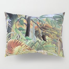 Tiger in a Tropical Storm (Surprised!) by Henri Rousseau 1891 // Jungle Rain Stormy Weather Scene Pillow Sham