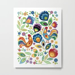 Polish Folk Roosters White Metal Print