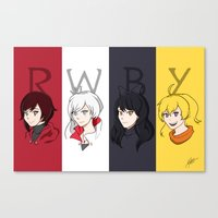 rwby Canvas Prints featuring Team RWBY by Kyra Draws