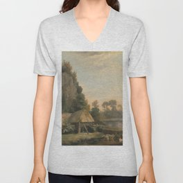 George Stubbs - Two Gentlemen Going a Shooting, with a View of Creswell Crags, Taken on the Spot Unisex V-Neck