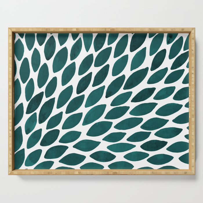 Watercolor brush strokes burst - teal Serving Tray