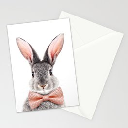 Baby Rabbit, Grey Bunny With Bow Tie, Baby Animals Art Print By Synplus Stationery Cards