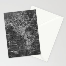 Black and White World Map (1901) Inverse 2 Stationery Cards