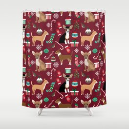 Chihuahua christmas presents dog breed stockings candy canes mittens Shower Curtain