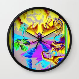 Trippy Psychedelic Surreal Visionary Art by VIncent Monaco - The Battlesoul Wall Clock