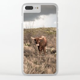 Stare Down - A Texas Bull in the Mesquite and Cactus Clear iPhone Case