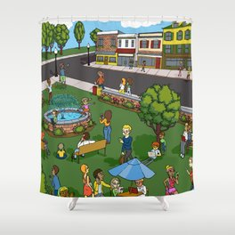A Digital Day at the Fountain Shower Curtain