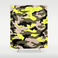 camouflage Shower Curtains featuring camouflage by RIZA PEKER