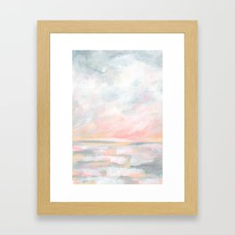 Overwhelm - Pink and Gray Pastel Seascape Framed Art Print