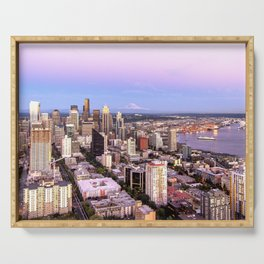 Seattle Skyline Harbor at Sunset Serving Tray