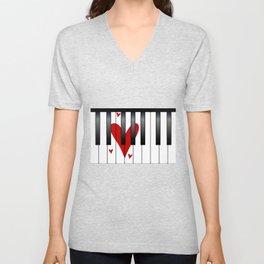 Love Piano Unisex V-Neck