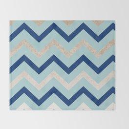 Marine zig zag - golden gradient turquoise Throw Blanket