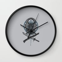 the walking dead Wall Clocks featuring Dead Men Walking by WinterArtwork