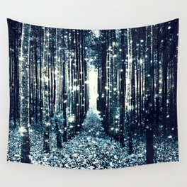 Magical Forest Teal Gray Elegance Wall Tapestry