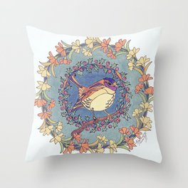 Small Bird With Wildflowers And Holly Wreath Throw Pillow
