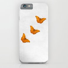 Beautiful butterflies on a textured white background iPhone 6s Slim Case