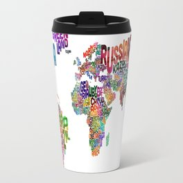 Text Map of the World Travel Mug