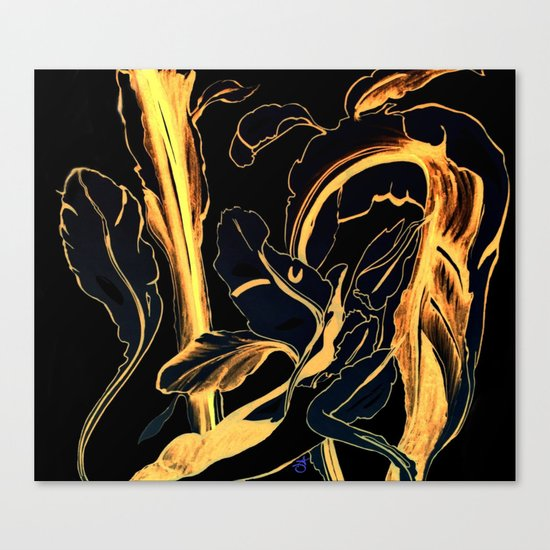 Plant in Blue Marker - Leaf of Life Miracle Leaf - Black and Gold Canvas Print