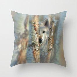 White Wolf - Focused Throw Pillow