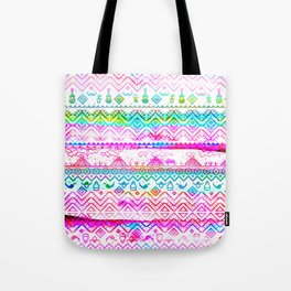 bohemian pattern in pink and turqupise soft colors Tote Bag