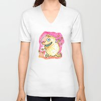 guinea pig V-neck T-shirts featuring Guinea Pig Monster by Scalmato Studio